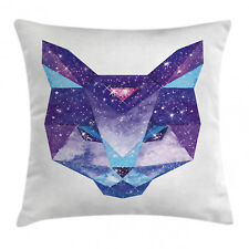 Space Cat Throw Pillow Case Star Clusters Head Square Cushion Cover 16 Inches