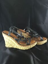 American Eagle Ladies Wedge Sandals  Brown W/ Black Straps Size 7 Euro 38