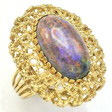 Vintage 18K Yellow Gold Purple Opal Cocktail Ring 14.5 Grams 21 x 12.2 mm