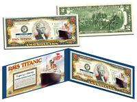 RMS TITANIC Ship * April 14, 1912 * Colorized U.S. $2 Bill Genuine Legal Tender