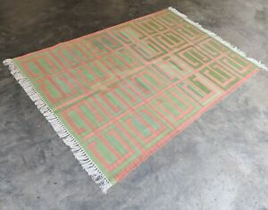 Handwoven Yoga Rug 4'x6' Green & Red Reversible Cotton Dhurrie Flat Weave Kilim