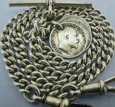 Antique Solid Silver Double Albert Pocket Watch Chain t-Bar & 3 Coin Fobs 1924