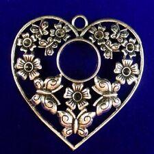 53x50x2mm Carved Tibetan Silver Hollow Heart Pendant Bead SD2019715