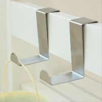 Over Door Hook Stainless Steel Reversible Cupboard Drawer Metal Hooks Hanger UK