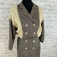 Neiman Marcus Donna Morgan for NSP vintage retro gray cream knit pencil dress 4