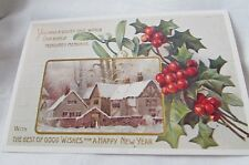 Vintage/Antique Good Wishes A Happy New Year Postcard Unused 3 1/2 X 5 1/2