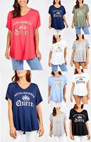 Ladies Womens Italian Oversized Slogan Short Sleeved T-Shirt Tunic Top Plus Size