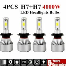 4PCS Combo H7 + H7 LED High Low Beam Headlight Kit Fog Bulbs 2400W 52000LM 6000K
