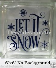 Let it Snow fancy Christmas Decal Sticker for Glass Block DIY Crafts