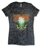Goo Goo Dolls Floral Girls Juniors Black Burnout T Shirt New Official Soft