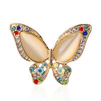 Fashion Women Butterfly Brooches Gold Plated Rhinestone Enamel Brooch Pin JA