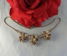 Flower Necklace Cat Rescue Vintage Purple Rhinestone Gold tone
