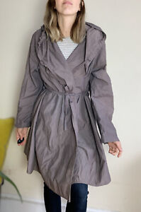 Eileen Fisher Lightweight Parka Coat XL Uk 16 Mushroom Grey Belt String Hooded