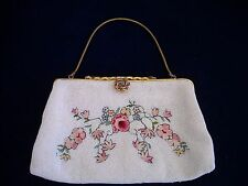 Vintage Spritzer and Fuhrmann Beaded Bag Purse with Mirror Made in France