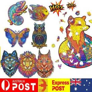 Wooden Jigsaw Puzzles Unique Animal Shape Adult Kid Toy Gift Home Decor AU Stock