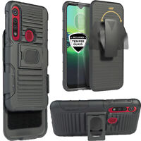 Case for Motorola Moto G8 Play, Moto One Macro Case Hybrid Defender Holster Belt