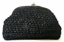 Vintage 60's Forsum Black Woven Clutch w/Fold in Strap - Excellent Condition