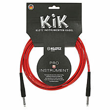 Klotz KIK 20ft GUITAR Insturment Cord Cable RED 2 pack made in Germany