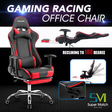 Computer Gaming Chair Office Desk Task Race Car Style Ergonomic w/ Footrest RED