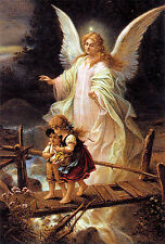 "Guardian Angel & Children Painting 12.5"" x 18.5"" Real Canvas Fine Art Print"