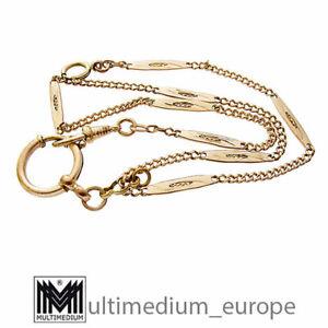Jugendstil Uhrenkette Doublé Metall mit Rotgold vergoldet watch chain 🌺🌺🌺🌺🌺