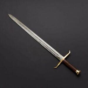 "LONG 38"" Custom handmade Damascus steel sword STRONG Combat Ready"