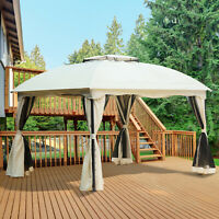Outsunny 10 x 12ft Outdoor Patio Gazebo Pavilion Canopy Tent Steel 2-tier Roof