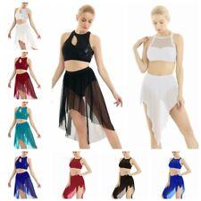 Women's Ballet Latin Dance Lyrical Dress Sequins Crop Top Mesh Skirt Dance wear