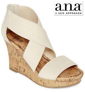 "New Sz 10 ANA Beige Platforms Wedge 3.5"" Women Sandals Shoes NIB new/ Box"