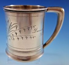 Whiting Sterling Silver Baby Child's Cup Mug Brite-Cut Bleeding Hearts #151J
