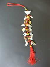 Chinese Prosperity Charm Ingot Red Tassel with Leafs