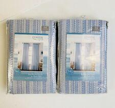 Coastal Life Denim Stripe 50x84  Rod Pocket/Back Tab Light Filtering Curtain (2)
