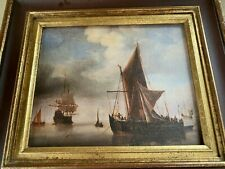 vintage oil painting SAILING SHIPS. Framed. Stamped 'Reproductions TROUBETZKOY'