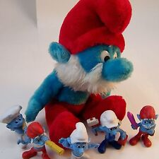 1979 Papa Smurf Bean Bag Plush 5 McDonalds Figures Handy Crazy Baker