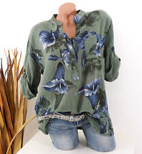 Bluse Damen Tunika 42 44 46 grün Longbluse Fischerhemd Leinen Optik Blumen Damen
