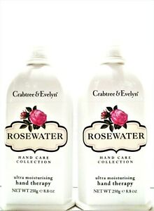 Crabtree & Evelyn ROSEWATER Ultra-Moisturising Hand Therapy, 8.8 oz, NEW X 2