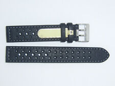 Di-Modell Impermeable perforado 18 mm Negro reloj banda correa Rallye Wapro