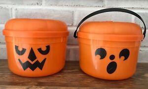 2 Vintage 1986 McDonalds McBoo Pumpkin Halloween Bucket + Lid McBoo !