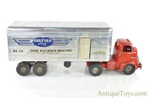Wyandotte Toys Pressed Steel Greyvan Lines Greyhound Moving Semi Truck
