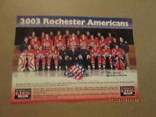 Ahl Rochester Americans Vintage Circa 2003 Hockey Team Photo