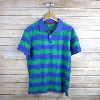 PINK THOMAS PINK Men's Short Sleeve Polo Shirt L Large Green & Blue Striped
