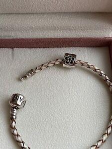 Pandora leather bracelet with charm