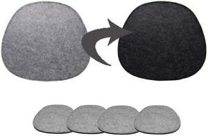 4x Grau Stuhlkissen Sitzkissen rund aus Filz Oval 40x37cm Waschbare Stuhlkissen