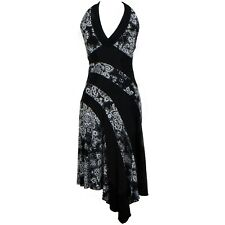 LOVE TEASE Women's Black Midi Dress Floral Formal Party Sleeveless Size M USA
