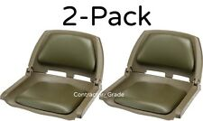 2-Pack Olive Green Folding Padded Boat Seats Duck Hunting Bass Fishing Seat Set