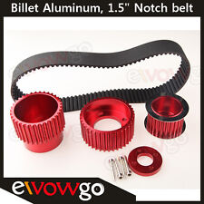 "For 12A 13B 20B 15mm RX7 FD FC RX3 Gilmer Drive Pulley Kit 1.5"" Notch Belt Red"