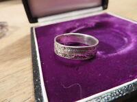 Wundervoller Unisex 925 Sterling Silber Ring Designer Muster Zeichen Euro € Top