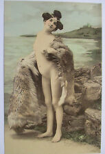Erotismo, mujer desnuda, zorro-estola, aprox. 1900 (48268)