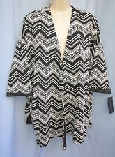 ASHLEY BLUE~1XL~Black & White Floral & Zig Zag Print Open Front Cardigan Sweater