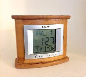 Sharp SPC323 Wood Frame Atomic Clock Calendar Weather